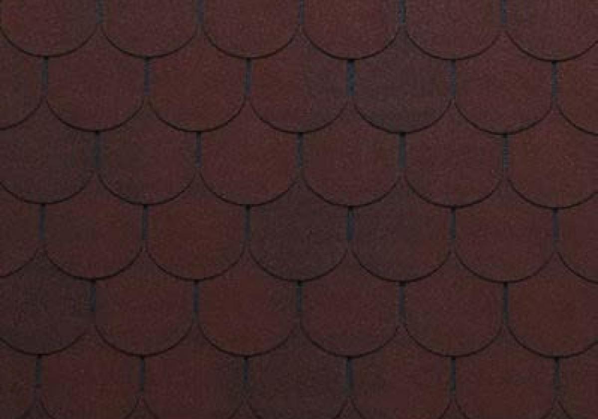czerwone półokrągłe gonty dachowe bardoline