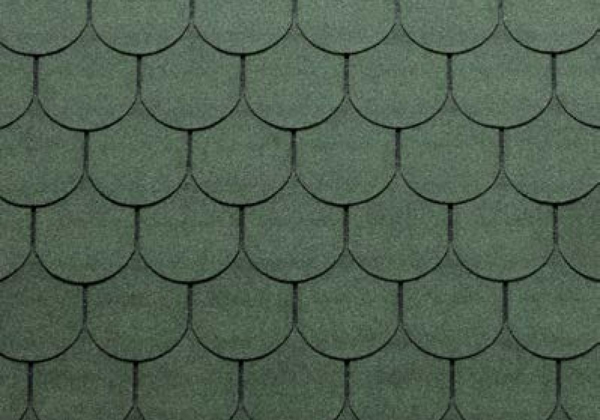 zielone półokrągłe gonty dachowe bardoline